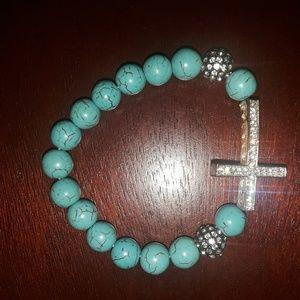 Jewelry - Rhodium Plated Crystal Cross Turquoise Bracelet